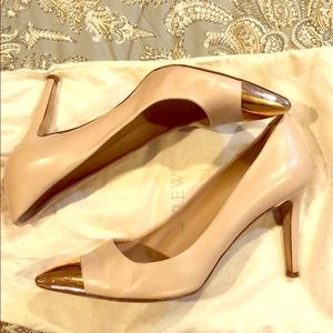 J.Crew nude pumps with gold pointed toe size 8